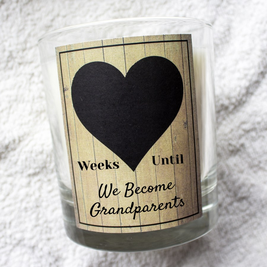 Weeks until we become grandparents countdown chalk board candle