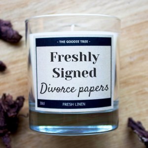 Freshly signed divorce papers candle