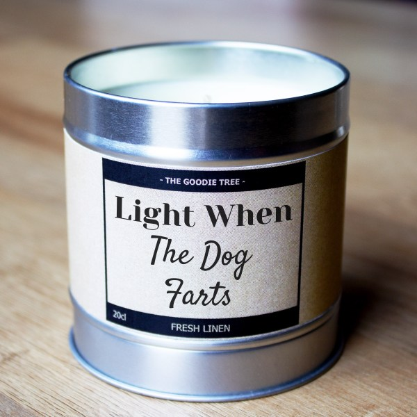 Light when the dog farts tin lid bottom