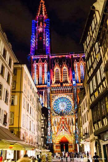 strasbourg cathedral night