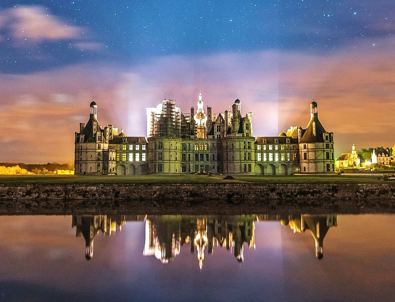 Chateau Chambord Loire Valley under a starry sky