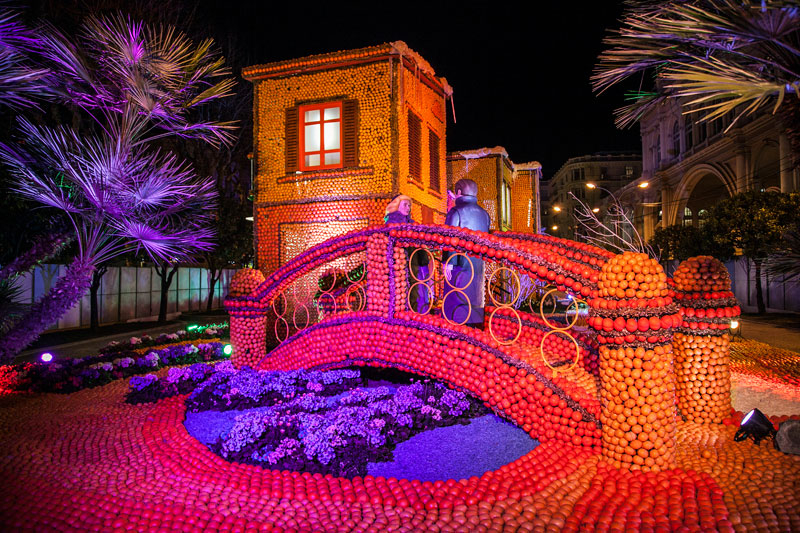House and bridge made our of oranges and lemons at the Menton Lemon Festival, southern France