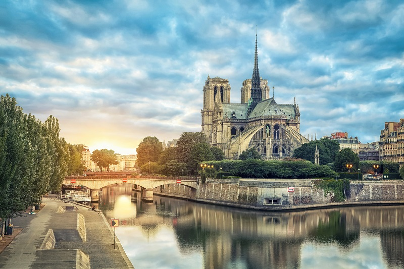 View of Notre Dame before the great fire of 2019