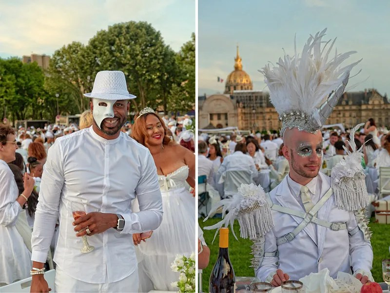 Diner en Blanc diners showing off their individual style all dressed up in white