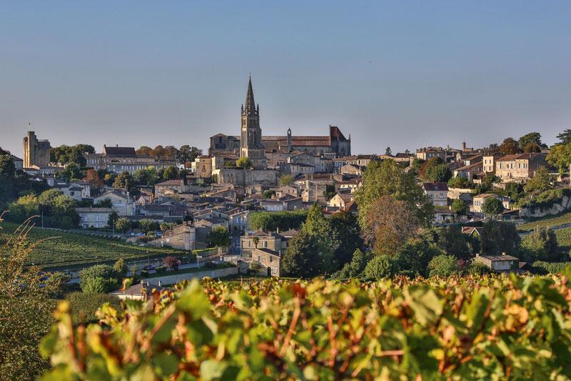 View of Saint-Emilion town among the vineyards of Bordeaux