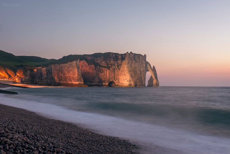 View of cliffs and strange rock formations in the sea at Etretat, Normandy