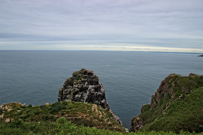 View over the Atlantic Ocean at Cap Frehel Brittany, looks like the edge of the world from the cliffs