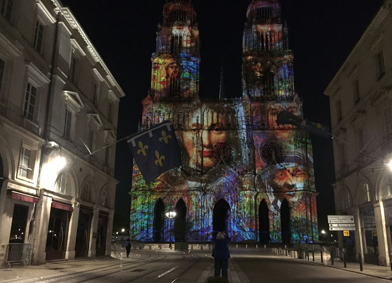 Cathedral of Orleans sound and light show at night, Loire Valley