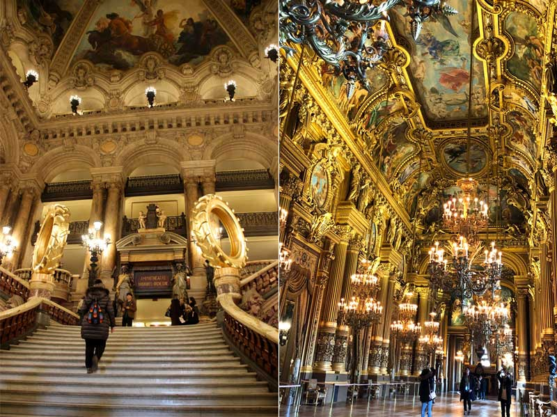 Galleries at the Paris Opera House are hung with chandeliers and the walls are decorated with oil paintings