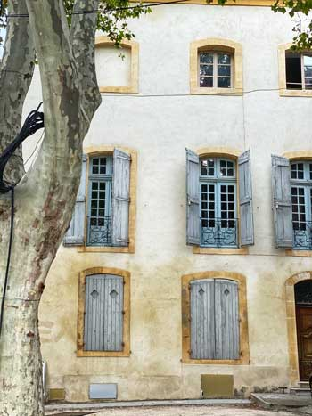 Old stone house with pale blue shutters, a plane tree growing in front of it in Avignon