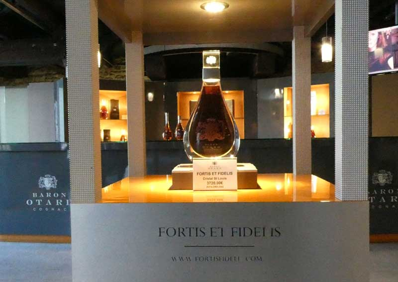 Bottle of Baron Otard Cognac on show at the Chateau Royal de Cognac, in Cognac