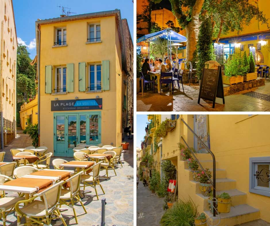 Buildings in Collioure painted bright yellow with blue and green shutters creating a palette of colour