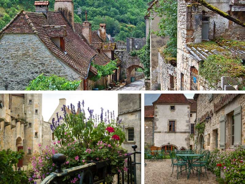 Street scene in Rocamadour, narrow cobbled walkways and houses clinging to a cliff