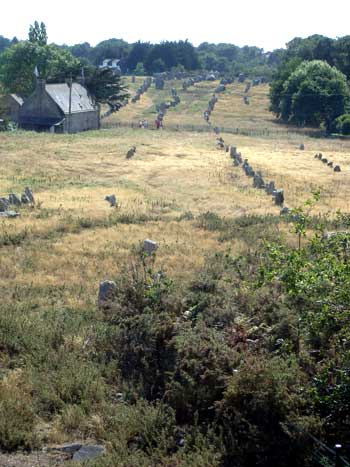 Long lines of hundreds of stones standing in a field by a cottage in Carnac, Brittany