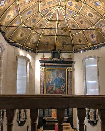 Beautifully gilded ceiling at the Museum of the Hospice de la Comtesse Lille