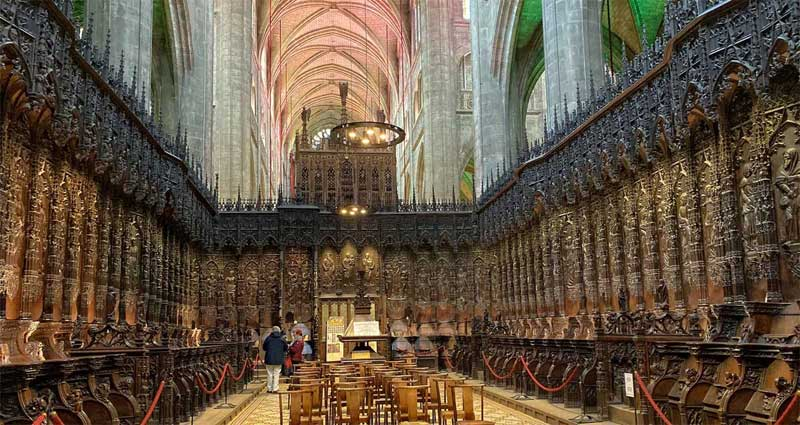 Wood carved seats in the Cathedral of Auch, Gers