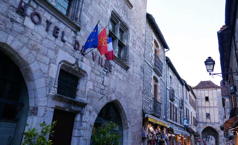 Street in Rocamadour lined with medieval buildings
