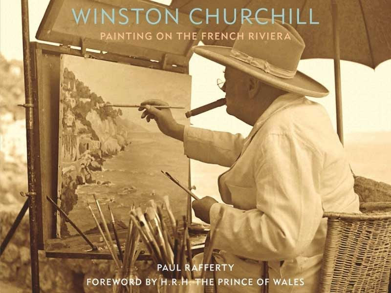 Book cover showing old photo of Winston Churchill, painting on the French Riviera