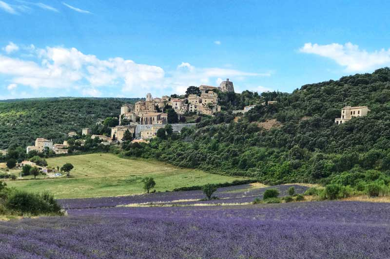 The hill top villafe of Simiane-la-Rotonde Provence, surrounded by lavender fields