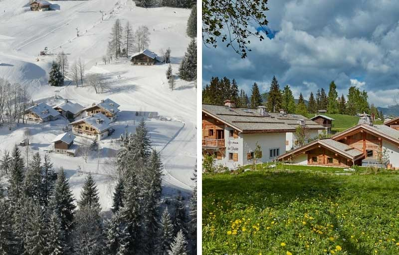 Three beautiful alpine chalets on a mountain in the snow and in the spring