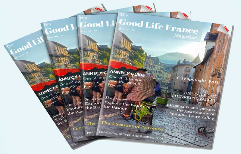The Good Life France magazine front cover showing Annecy French Alps