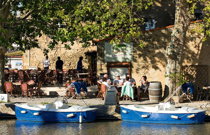 Cafe alongside the Canal du Midi