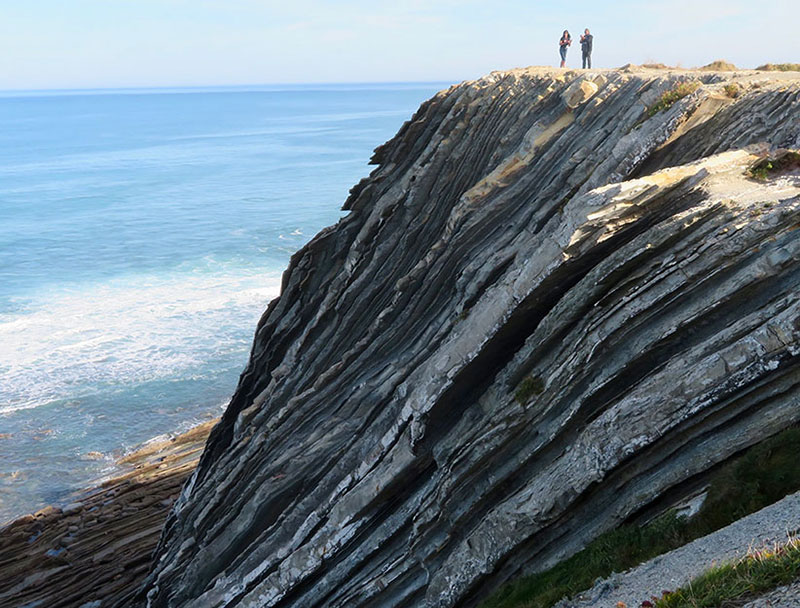 Steep cliffs lead to the sea at Urrugne, Basque country