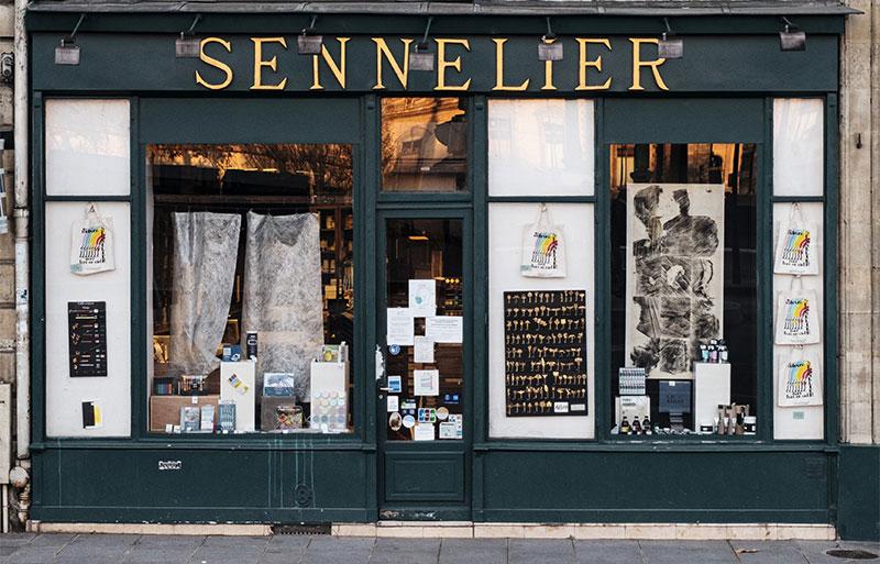 Store front of Maison. Sennelier, Paris