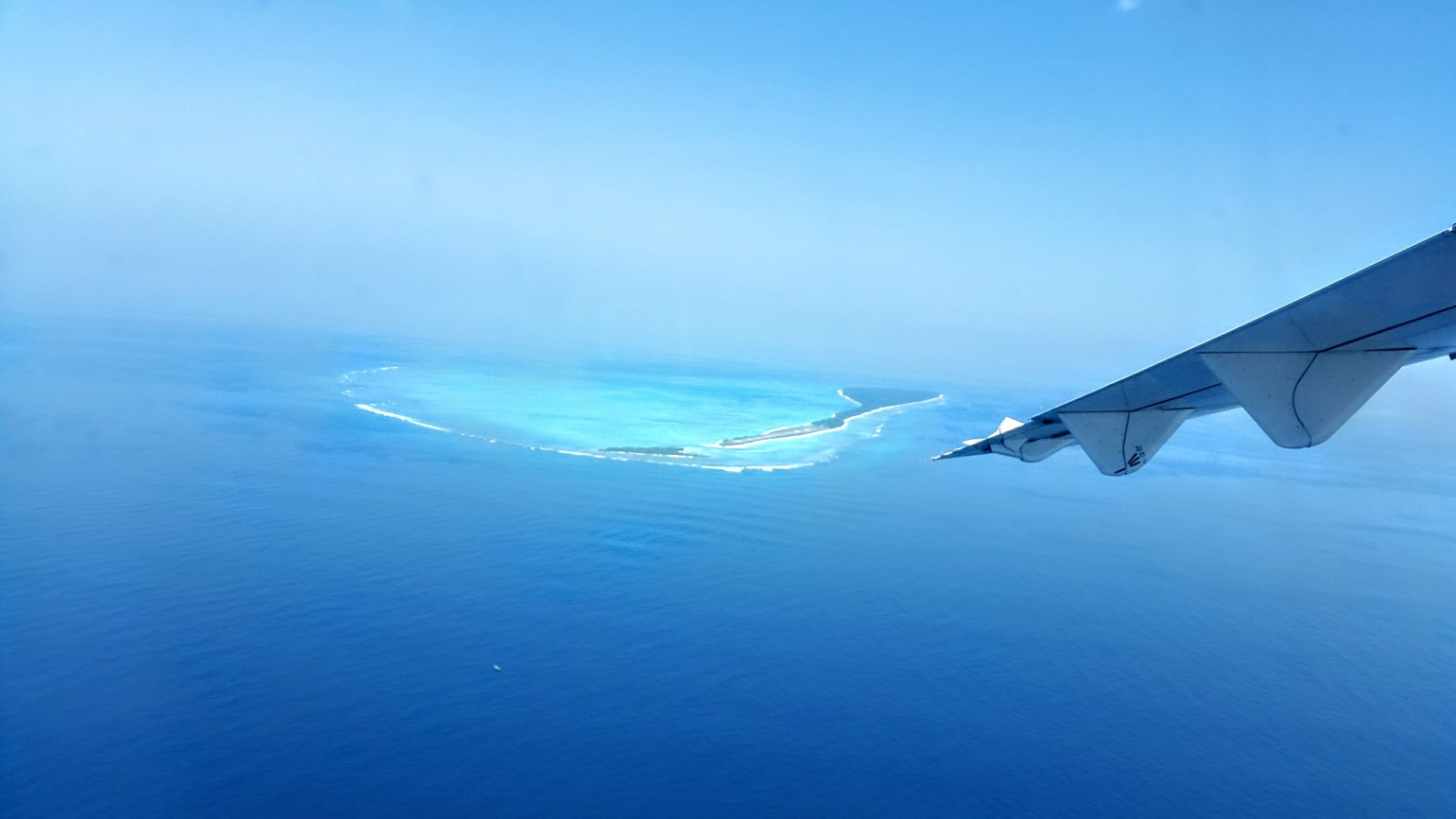 Agatti island from above in Lakshadweep, India