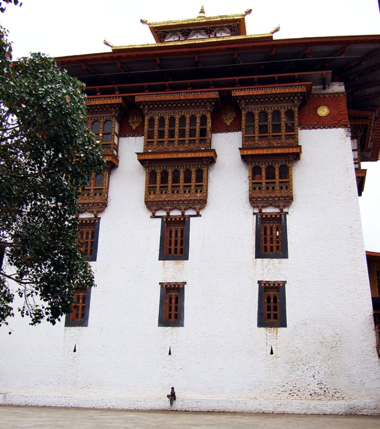 A towering building in Punakha dzong, Bhutan - an escape from the summer heat