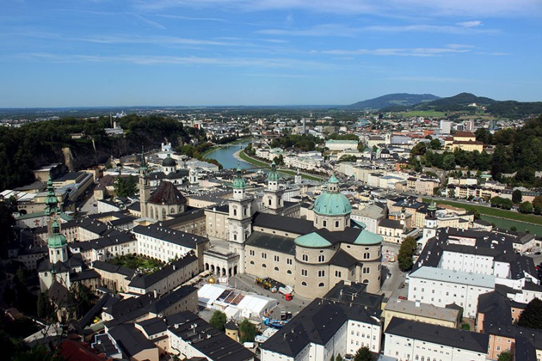 View of the old town in Salzburg, Austria showing Salzburg Cathedral - travel mistakes we made