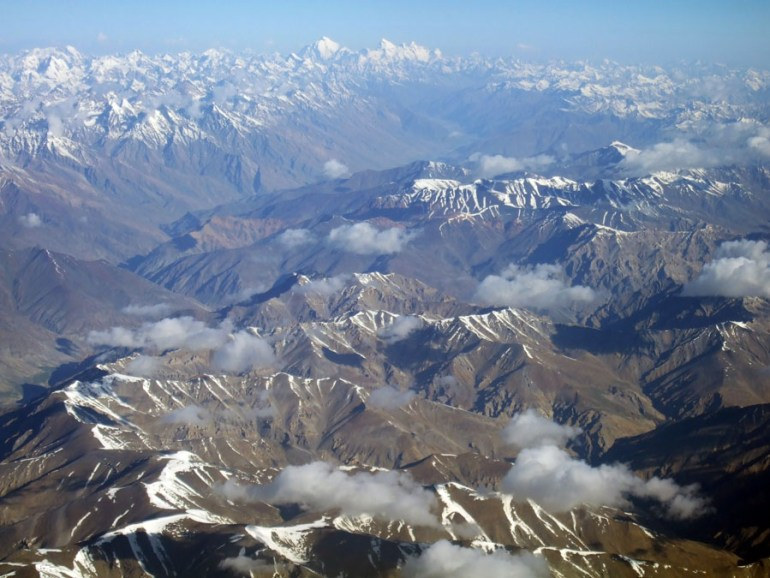 Ladakh - Mountains from plane - mountain holiday destinations in India