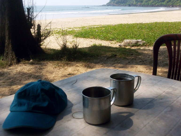 Cold beer in steel mugs on Talpona beach near Agonda in Goa, India - travel mistakes we made