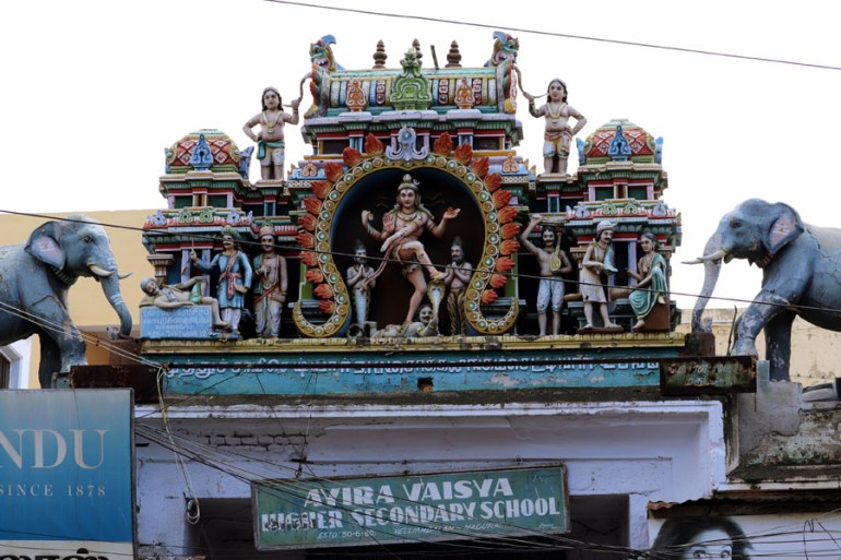 Madurai - Figures on school arch - Temples of Madurai and Thanjavur