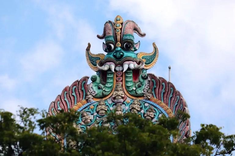 Madurai - Keerthimukham on south gopuram - Temples of Madurai and Thanjavur