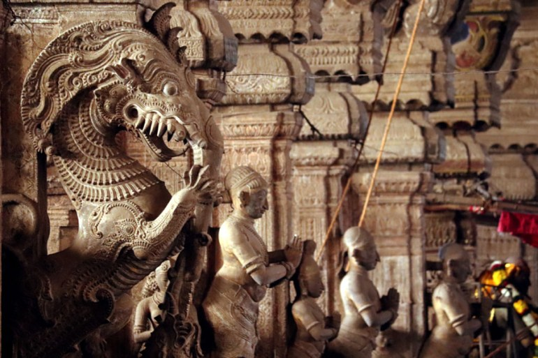 Carved yali (Tiger, horse and elephant) at the Pudumandapa, Meenakshi Temple, Madurai, Tamil Nadu, India - travel mistakes we made