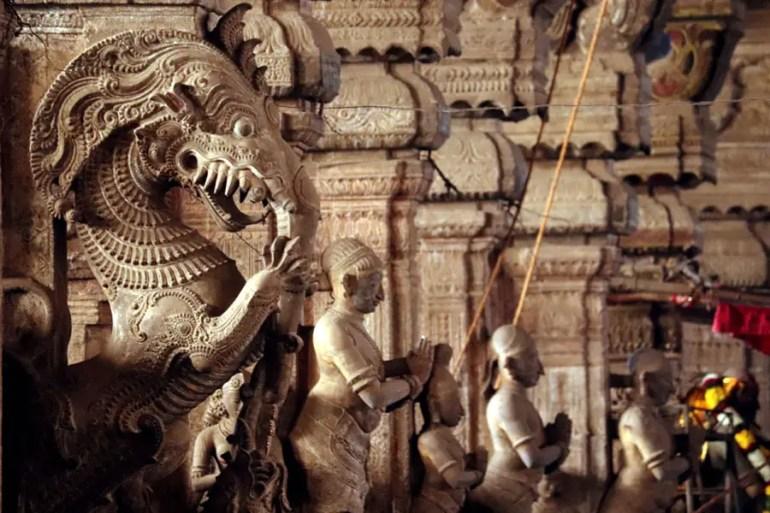 Carved yali (Tiger, horse and elephant) at the Pudumandapa, Meenakshi Temple, Madurai, Tamil Nadu, India - travel mistakes we made