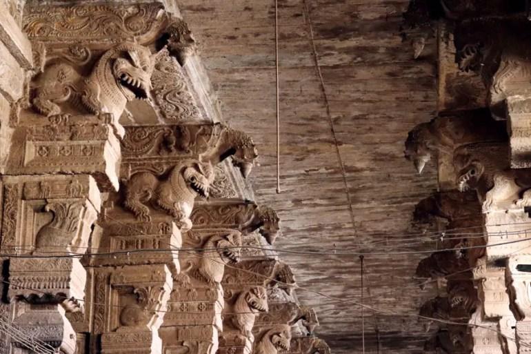 Madurai - Pudumandapa yali figures - Temples of Madurai and Thanjavur