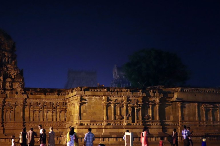 Thanjavur - night View back to gopurams - Temples of Madurai and Thanjavur