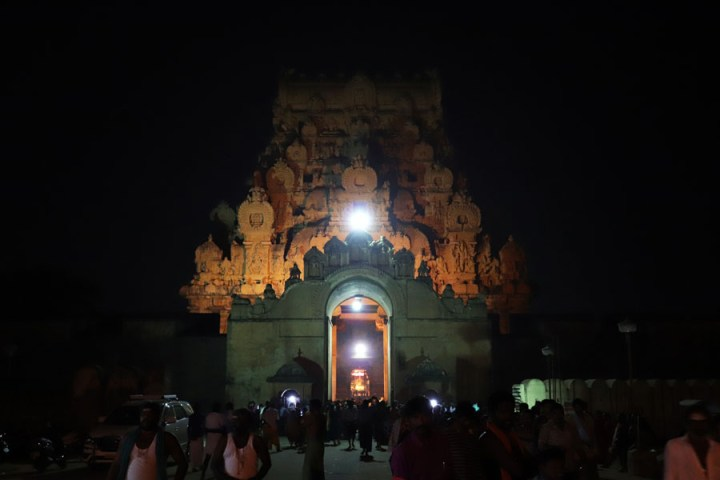 Thanjavur - Outer gopuram at night - Temples of Madurai and Thanjavur