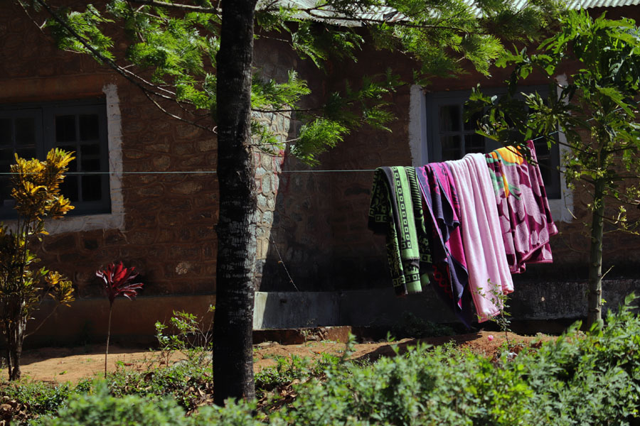 Blankets airing in the sun in Valparai, Tamil Nadu, India