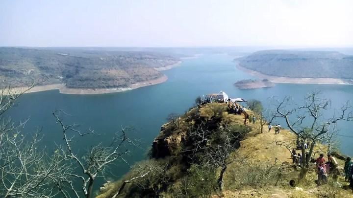 View of Nagarjuna Sagar from hill, Telangana, India