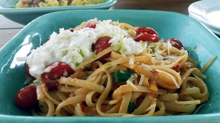 linguine, tomato and burrata at olive bistro, jubilee hills, hyderabad, india - Great restaurants for vegetarians in Hyderabad