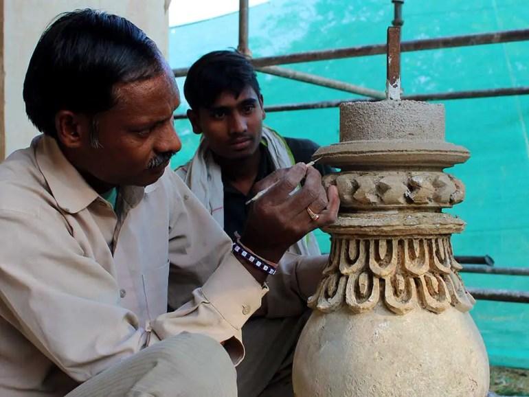 Restoration at qutb shahi tombs, hyderabad, india