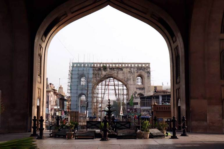 A view back towards the southern arch from under the Charminar