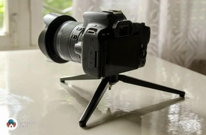 Mini-tripod and camera
