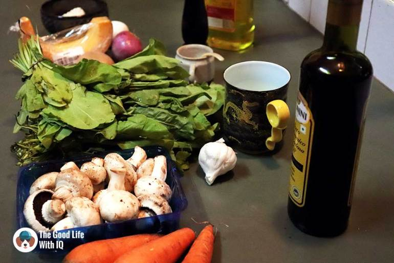 Ingredients - Vegetarian and satisfying: Pumpkin potato pancakes with creamed spinach and mushroom