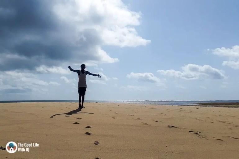 Boatman on sandbar - malindi marine national park
