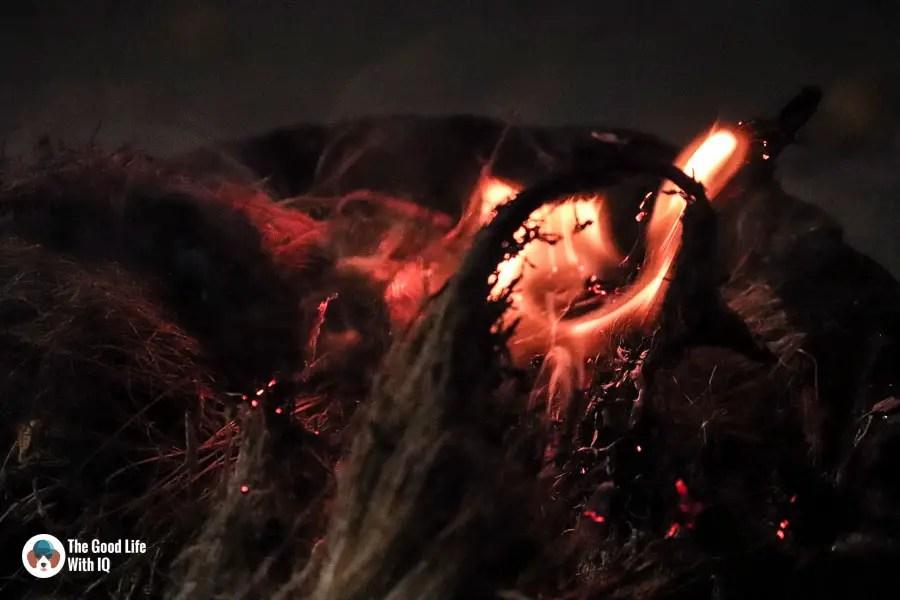 Burning coconut husk - Durga Puja 2018