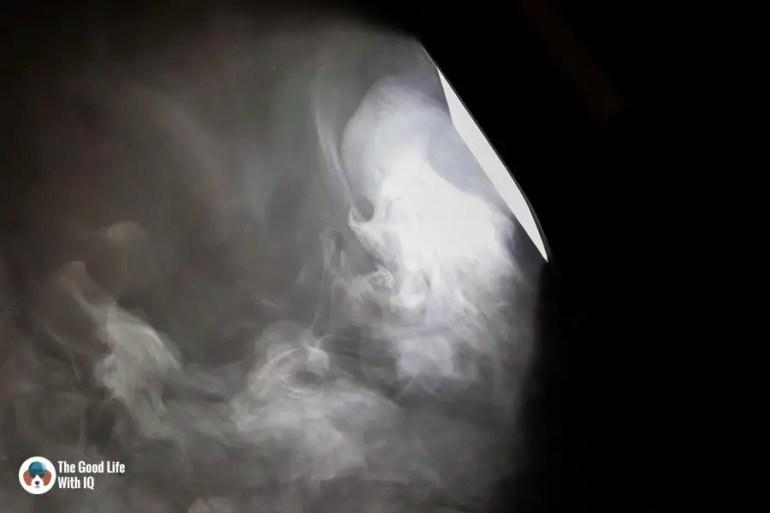 Spotlight and smoke - Durga Puja 2018